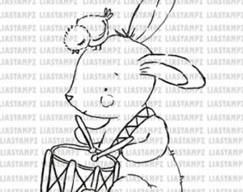 Digital stamp Easter Bunny. digistamp. Easter digi stamp.Bunny stamp.Bird digital stamp. LiaStampz