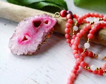 Pink Chalcedony Beaded Gemstone Necklace with Druzy Pendant