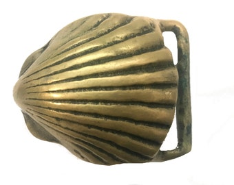Beautiful Vintage Solid Brass Shell Belt Buckle - Handmade - Beach - Art Clam Oyster Conch - Fathers Day Gift Idea