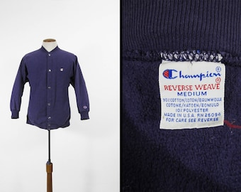 Vintage Champion Reverse Weave Sweatshirt Purple Snap Warm Up Jacket - Size Medium