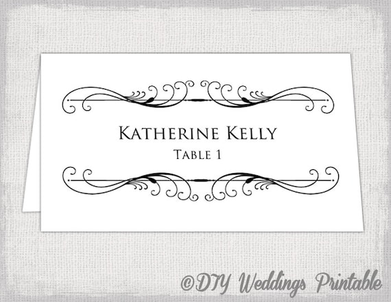 Printable Place Card Template Tent Name Card Templates - Wedding name tag template