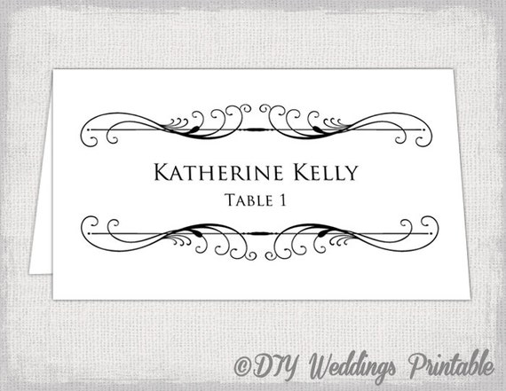Printable Place Card Template Tent Name Card Templates - Wedding place card template word