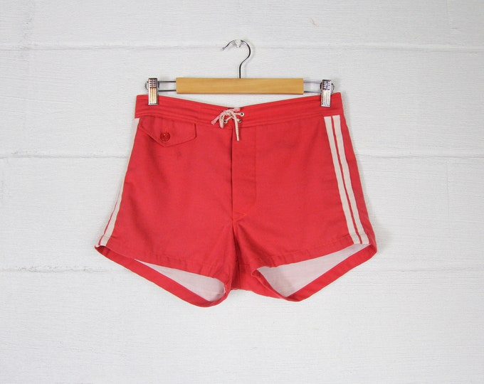 Men's 60's Red Soft Swim Trunks Surf Board Shorts with White Stipes Vintage Size Small Medium 30