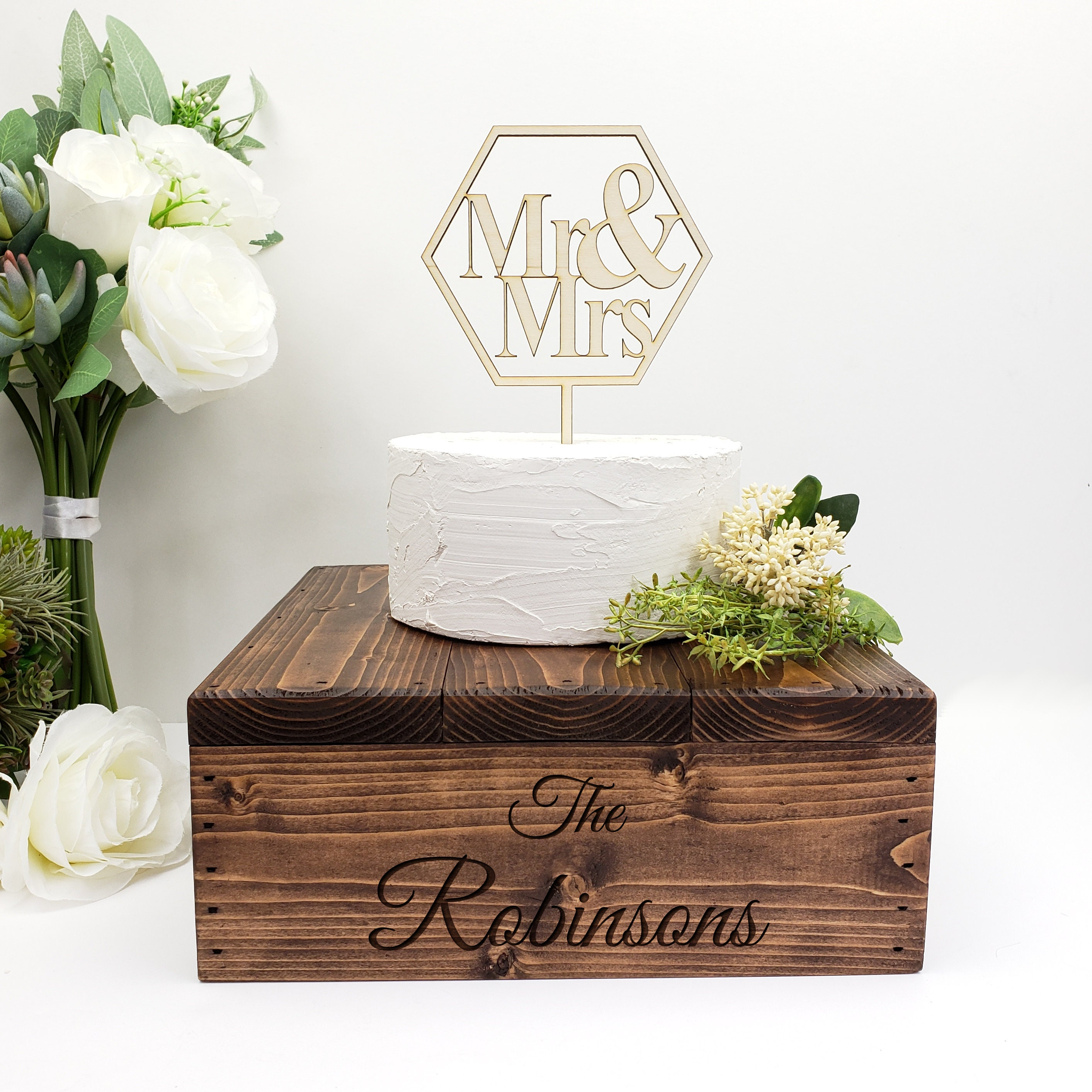 Personalized Wooden Cake Stand | Rustic Wedding | Custom Cake Stand ...