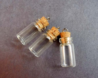 3 Clear Glass Mini Vial/Bottles With Corks And Loop - 6-19