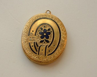Victorian gold metal enamel mourning locket