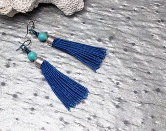 Tassel Earrings, Bohemian, Fringe Earrings, Blue Earrings, Boho Chic, Gift for Her, Gypsy Earrings, Long Tassel Earrings