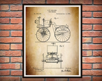 Patent 1895 Automobile - Road Engine Invented by George Selden - Controversial Auto Patent Contested by Henry Ford- 1st US Automobile Patent