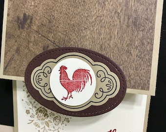 Little Red Rooster Thank You cards 4 pack, little red rooster card, rustic thank you card, country thank you card,