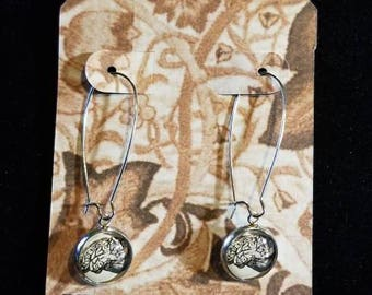 Silver Brain cabochon earrings
