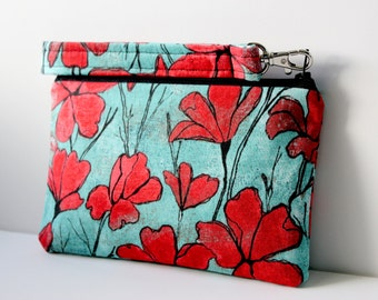 California Poppy Wristlet with Removable Strap