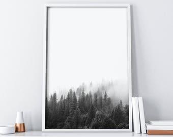 Forest Mountain Wall Art| Minimalist Poster Digital Print| Nature Landscape Art Print Instant Download| Boho Home Decor| Rustic Wall Decor