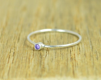 Tiny Amethyst Ring, Dainty Amethyst Ring, Amethyst Ring Silver, Amethyst Rings, February Birthstone, Minimal Amethyst, Stacking Ring, Alari