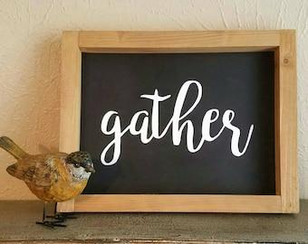 Gather sign | farmhouse sign | wall decor | gallery | home decor | farmhouse decor