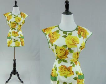 60s Yellow Rose Top - Apron or Smock - Cotton Work Shirt - Green Trim - Vintage 1960s - M L