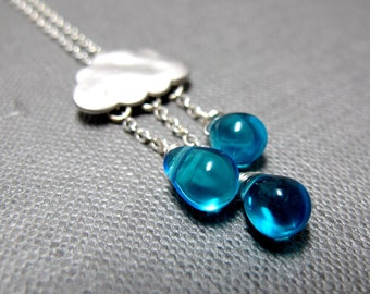 """Raindrops Keep Falling Necklace // Various Blue Teardrop Glassbeads // 17"""" Silver Chain // Inspired by a Rainy Day"""
