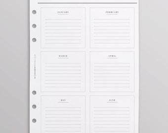 PRINTED Kikki K Inserts | A5 Filofax Inserts | Anniversary Birthday Planner Pages | LV Agenda GM Inserts, Birthday Calendar Planner Refill