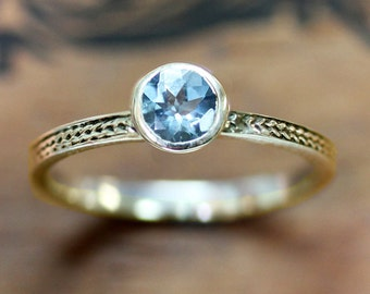 Aquamarine engagement ring gold aquamarine ring vintage inspired bezel engagement ring, gold braided ring gold birthstone ring March, custom