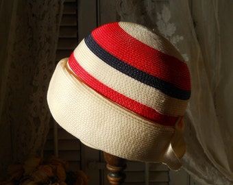 Vintage 1950s Straw Cloche Hat White w/ Red and Navy Blue Stripes Turned Up Brim Vintage Women's Accessories Vintage Cloche Hat