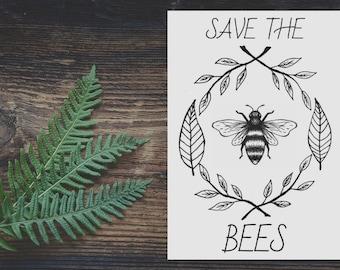 Minimal, Modern, Botanical, Line, Drawing, Save the Bees, Floral, Border, Art, Print
