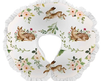 Woodland Deer Friends Nursing Pillow Cover | Winnie's Fawn, Rabbit and Floral Woodland Girl Nursing Pillow Cover with Ruffle