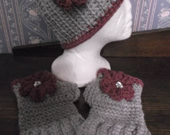 Pretty Gray/Orchid Handmade Knitted/Crocheted Ear Warmer/Headband/Head Wrap W/Flower And Matching Fingerless Gloves