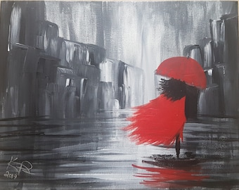 Lady in Red Acrylic Painting