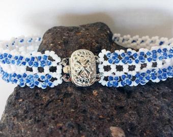 Cobalt Blue and White Bracelet