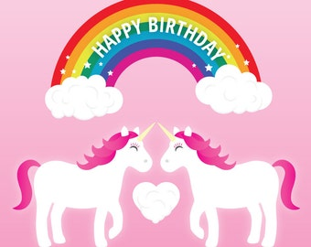 Lesbian Unicorn Birthday Card (Great for friends too!) - Lesbian birthday card - lesbian birthday gift - lesbian girlfriend card