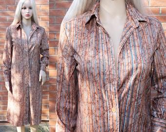 Vintage 70s Shirt Dress - 1970s Bleeker Street Dress - 1970s Dress - Hippie Dress - Striped Shirt Dress - Rust Colored Dress - 70s Dress