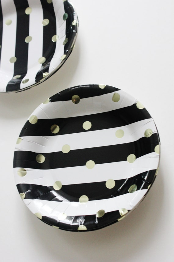 & Set 8 BLACK \u0026 WHITE STRIPED Gold Polka Dot Large Paper Plates