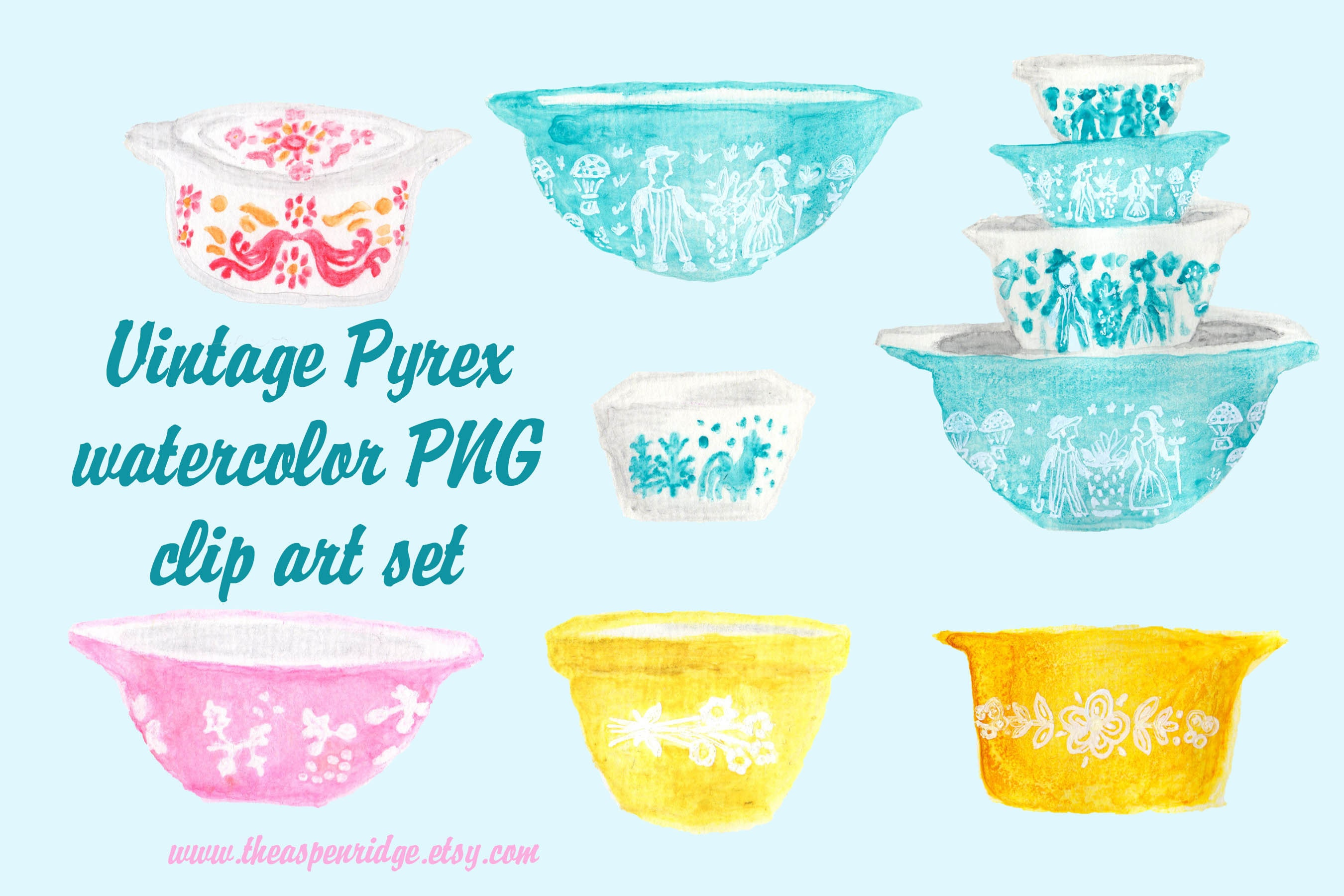 Vintage Pyrex bowl watercolor PNG clip art set of 7 files