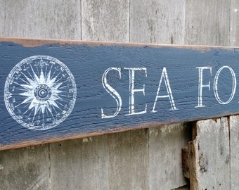 SEA FOR MILES sign with nautical compass and vintage clam- Large hand-painted distressed shabby chic on salvaged wood Made 2 Order