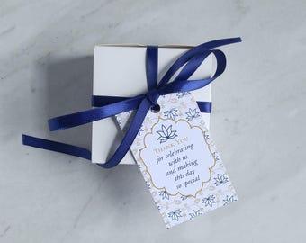 Blumen Hochzeit Gunsten Tag - Baby-Dusche-danke - Lotus indische Hochzeit Gunsten - Marine, Koralle, grau, Türkis - 2 x 3,5-Zoll - Geschenkset von 10