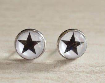 Star - Black White Bridesmaid Stud Earrings
