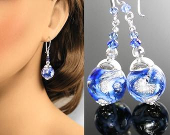 Sapphire Blue Earrings, Sterling Silver Earrings, Murano Glass Earrings, September Birthstone, Blue Dangle Drop, Venetian Glass Jewelry