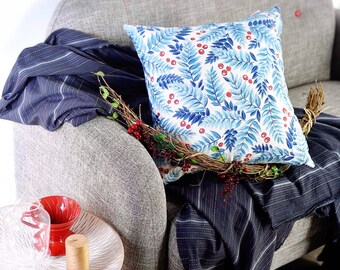 Winter berries cushion cover, Christmas cushion cover, Decorative Pillows, Cotton Pillowcase