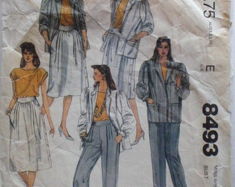 SALE - Jones New York Unlined Jacket, Pullover Top, Skirt and Pants Sewing Pattern - McCall's 8493 - Size 12, Bust 34