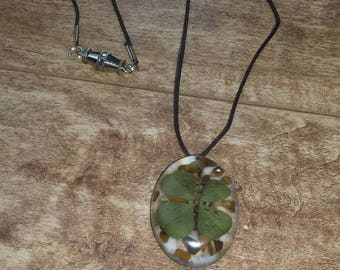 Real 4 leaf clover pendant necklace with tigers eye on cord