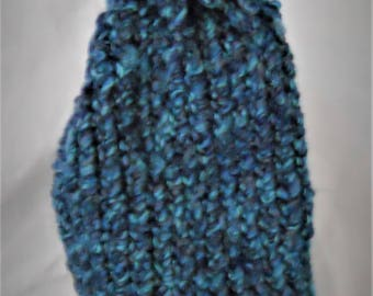 Blue Child's Knit Curl-brimmed Winter Beanie Hat with Pom-pom(CU-01)