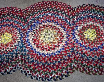 New Not Antique Hand Handmade Folk Art Wool 3 Circle Braided Rug