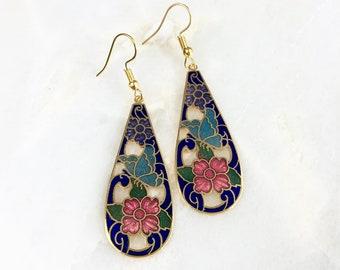 Vintage Cloisonne Floral Earrings
