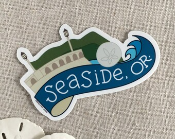 Seaside Oregon Vinyl Sticker / Beach Sticker / Modern Sticker / Laptop Sticker / Travel Sticker / Waterproof Sticker / Oregon Sticker