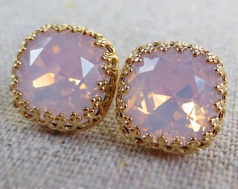 Swarovski Blush Pink Opal Crystal Crown Post Earrings Cushion Cut Square Rose Gold Silver Bridal Jewelry Bridesmaids Gifts