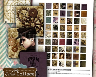 Steampunk Digital Collage Sheet .75x.83 Scrabble Size Images, For Pendants, For Printing, Decoupage Paper, Craft Paper, Jewelry Supplies