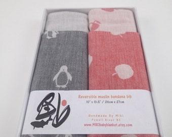 Penguin/ apple bandana bibs in gift box, baby bib, baby gift, baby shower gift