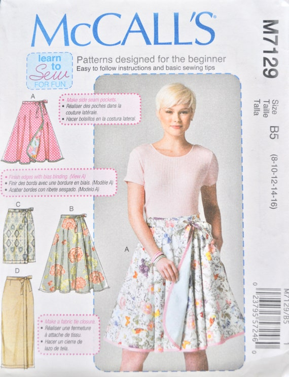 McCall\'s 7129 Sewing Pattern Wrap Casual Tie Skirt Long