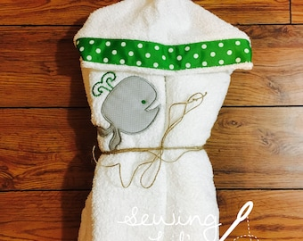 Whale Hooded Towel--personalized with name