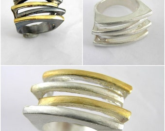 Sterling Silver Statement Ring. Modern Sterling Silver Ring. Contemporary Silver Ring.