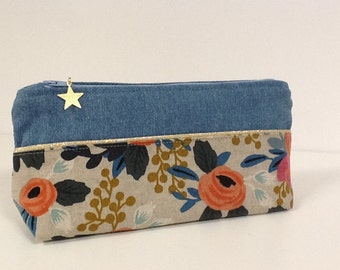 Floral jean and linen school kit Rifle Paper Co / jean pencil case, floral pattern, gold edging, golden star / customizable kit
